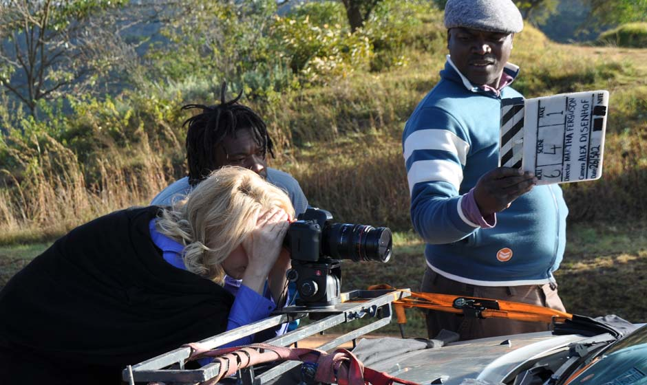 Freestate short film, behind-the-scenes image of filming the driving scene, Director and Executive Producer Martha Ferguson