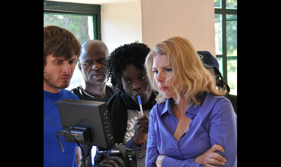 Freestate short film, behind-the-scenes image of filming the Porch scene, CINEMATOGRAPHER Alex Disenhof, Continuity Yeukai Ndarimani, and Director and Executive Producer Martha Ferguson